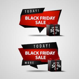 Black friday-verkoop. banners met geschenken