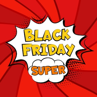 Black friday-verkoop comic explosie super banner sjabloon. pop-art tekst
