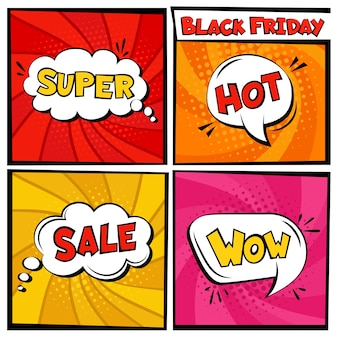 Black friday-verkoop comic speech bubble-sjabloon set