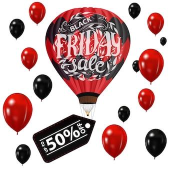 Black friday-verkoop. de banner met een ballon