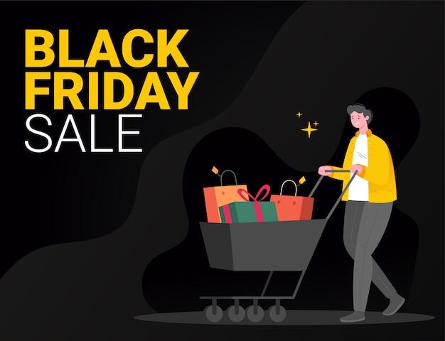 Black friday-verkoop evenement illustratie concept, een mannelijk personage dat een winkelwagentje duwt