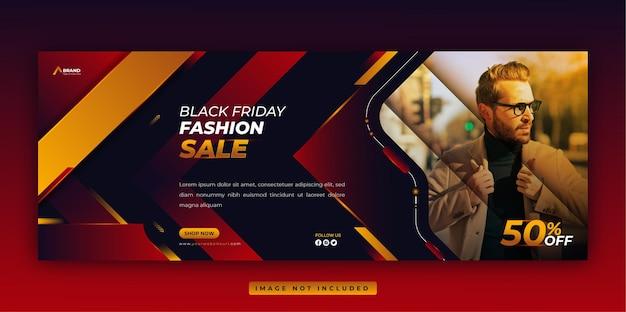 Black friday-verkoop facebook-omslag en webbannersjabloon