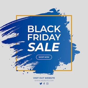 Black friday-verkoop gradiëntbanner met gouden vierkant