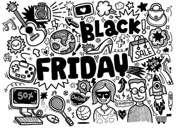 Black friday verkoop hand belettering en doodles elementen achtergrond.