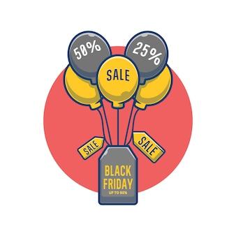 Black friday-verkoop hangende markering en ballonbeeldverhaalillustratie