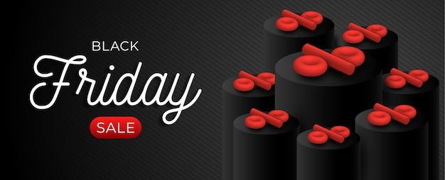 Black friday-verkoop horizontale sjabloon met rood 3d percentagesymbool