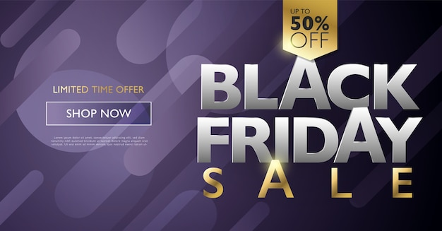 Black friday-verkoop korting banner marketingconcept met gouden letters