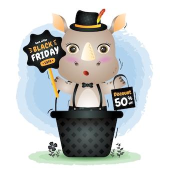Black friday-verkoop met een schattige neushoorn in de mand houdt bord promotie en boodschappentas illustratie