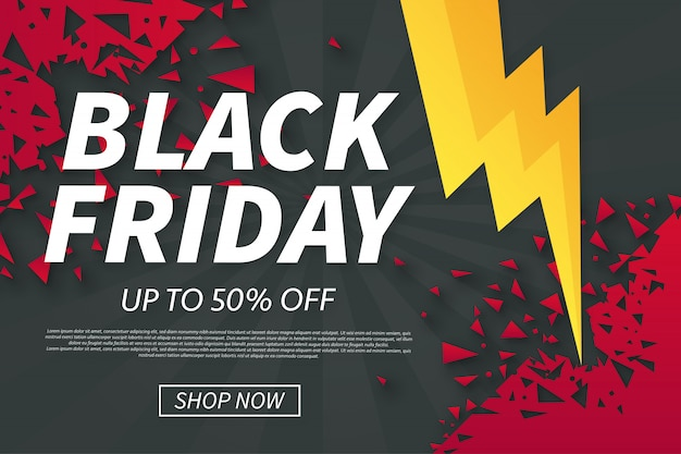 Black friday-verkoop met gebroken vormen