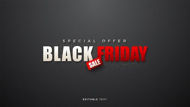 Black friday-verkoop met witte en rode schrijfillustratie Premium Vector