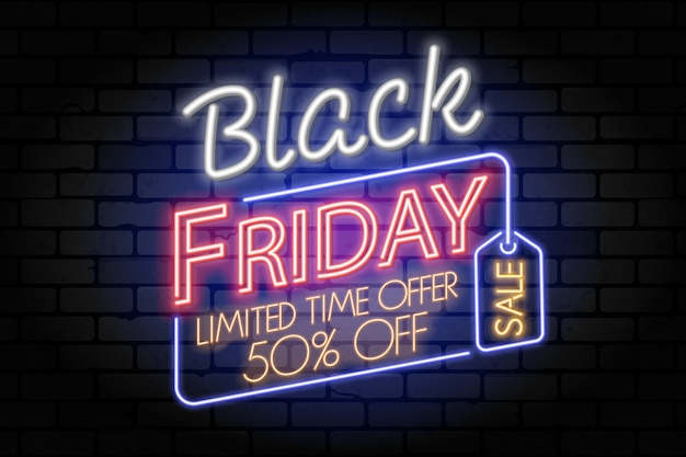 Black friday-verkoop neonbanner. uithangbord voor blackfriday-verkoop met tag op brickwall-textuur. gloeiende witte en rode neonletters. realistische illustratie.