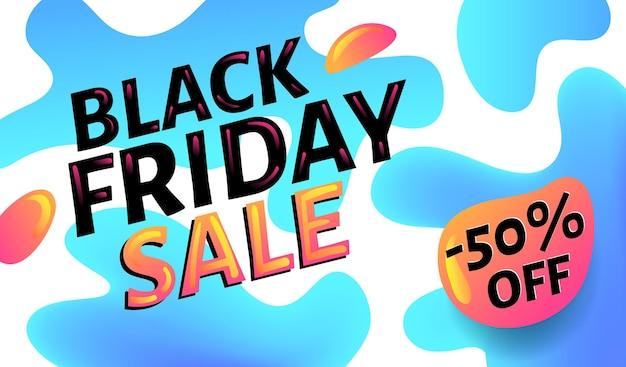 Black friday-verkoop reclame blauwe en witte webbanner of poster, aanplakbiljet sjabloon met kleurrijke abstracte elementen
