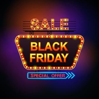 Black friday-verkoop retro licht frame.