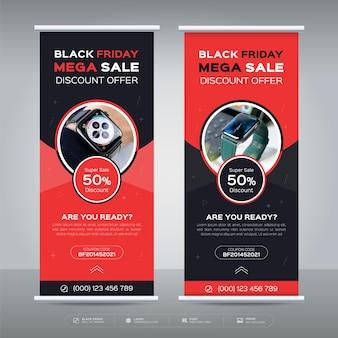 Black friday verkoop roll-up banner aanbieding promotie sjabloon