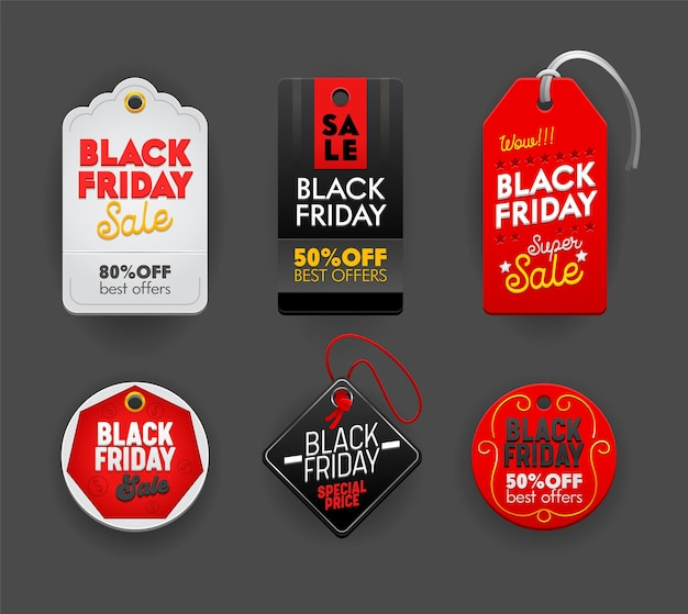 Black friday-verkoop set tags, emblemen, etiketten