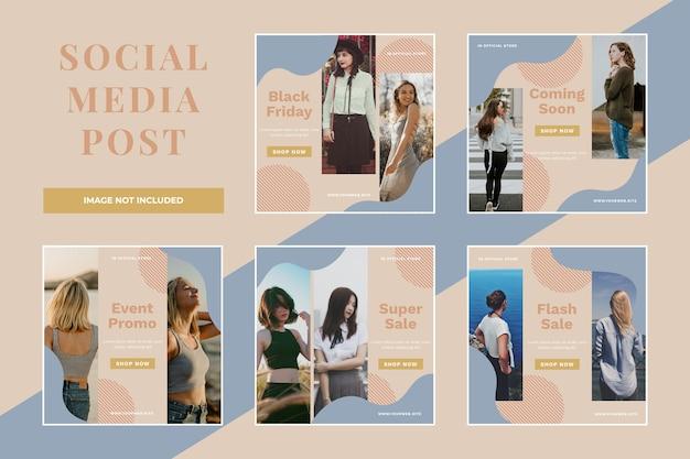 Black friday-verkoop social media post set-sjabloon