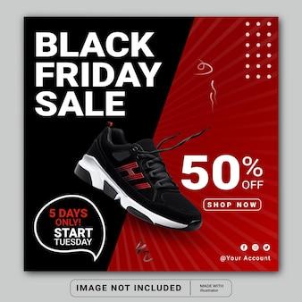 Black friday-verkoop sociale media instagram postbannersjabloon of vierkante flyer