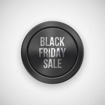 Black friday-verkoop technologiebadge met metalen textuur.