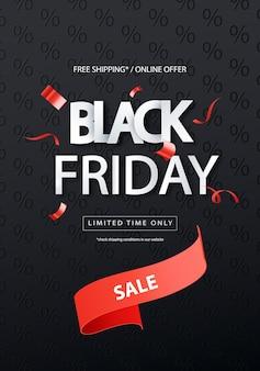 Black friday-verkoop vectorbanner met rood lint. vector illustratie.