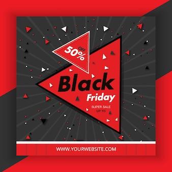 Black friday-verkoop vijftig kortingsposter met aanbiedingspromotie in rood schrijven en zwarte stijl premium vector