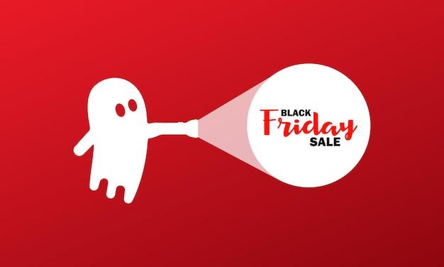 Black friday-verkoop voor halloween-banner. geest met een zaklamp. lage prijs. vector op geïsoleerde achtergrond. eps-10.
