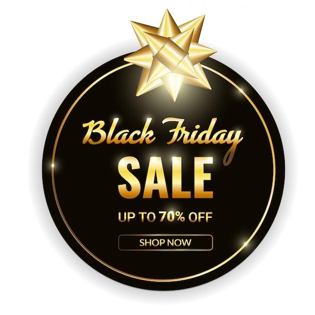 Black friday-verkoop wit vectorteken in gouden frame met gouden boog