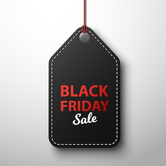 Black friday-verkoop zwart etiket, dat op witte achtergrond wordt geïsoleerd.