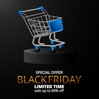 Black friday-verkoopaanbiedingbanner met winkelwagentje Premium Vector
