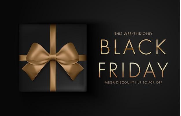 Black friday-verkoopachtergrond met giftdoos Premium Vector