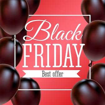 Black friday-verkoopaffiche met glanzende ballons op rode achtergrond met vierkant kader.