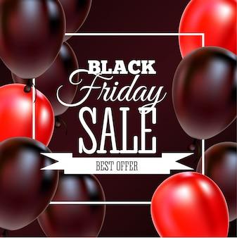 Black friday-verkoopaffiche met glanzende ballons op zwarte achtergrond met vierkant kader.