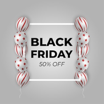 Black friday-verkoopaffiche met glanzende ballons