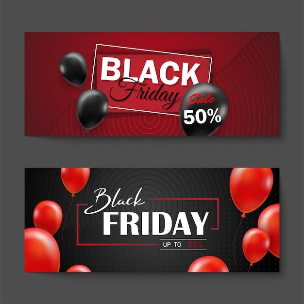 Black friday-verkoopaffiche met zwarte ballonnen voor de stijl van retail, shopping of black friday-promotie