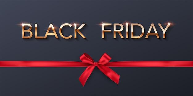 Black friday-verkoopafficheachtergrond gouden lettertype met rood lint en boog
