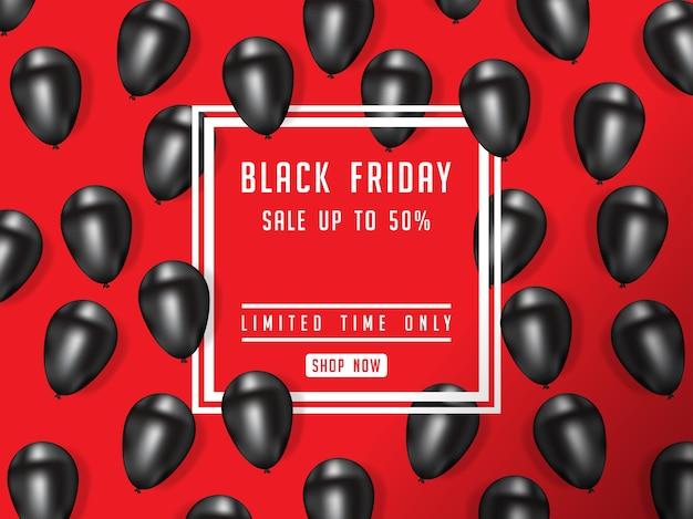 Black friday-verkoopafficheillustratie met glanzende ballons