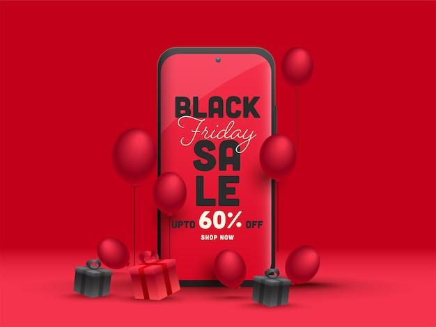 Black friday-verkoopapp op smartphone Premium Vector