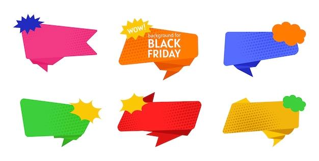 Black friday-verkoopbanner gekleurde reeks