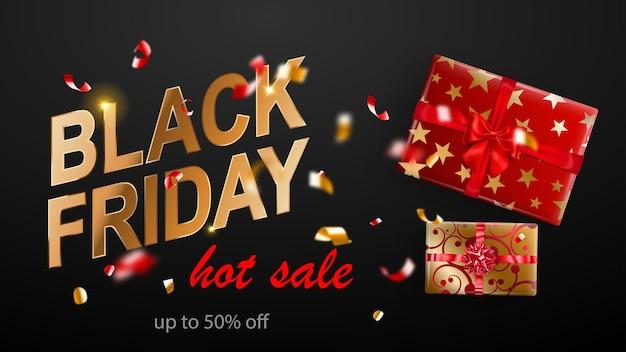 Black friday-verkoopbanner. geschenkdoos met strik en linten. vliegende glanzende wazige rode en gele confetti en stukjes serpentine op donkere achtergrond. vectorillustratie voor posters, flyers of kaarten.