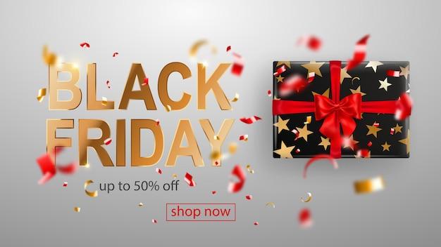 Black friday-verkoopbanner. geschenkdoos met strik en linten. vliegende glanzende wazige rode en gele confetti en stukjes serpentine op witte achtergrond. vectorillustratie voor posters, flyers of kaarten.