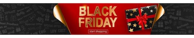Black friday-verkoopbanner in rode, zwarte en gouden kleuren. inscriptie en geschenkdoos op donkere achtergrond. gekrulde papieren hoeken. vectorillustratie voor posters, flyers, kaarten