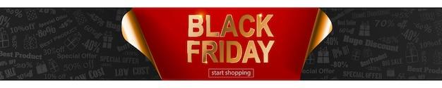 Black friday-verkoopbanner in rode, zwarte en gouden kleuren. inscriptie op donkere achtergrond. gekrulde papieren hoeken. vectorillustratie voor posters, flyers, kaarten