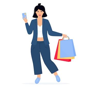 Black friday-verkoopbanner. meisje met boodschappentassen en creditcard