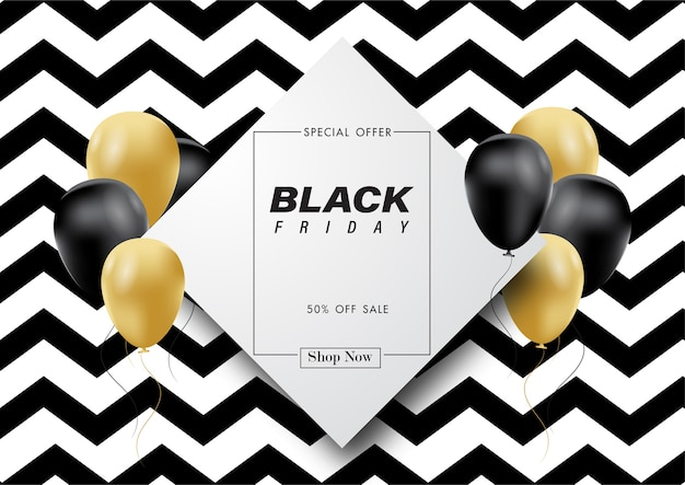 Black friday-verkoopbanner met ballon en abstracte achtergrond.