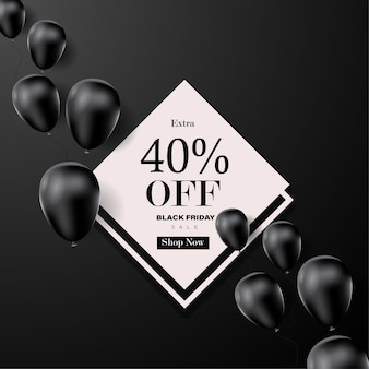 Black friday-verkoopbanner met ballonachtergrond. Premium Vector