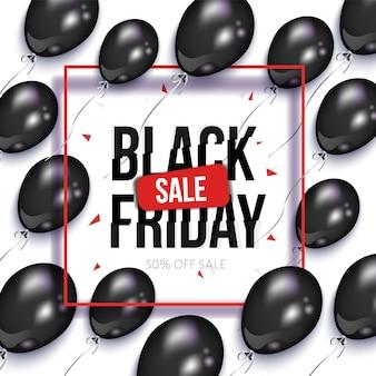 Black friday-verkoopbanner met ballons
