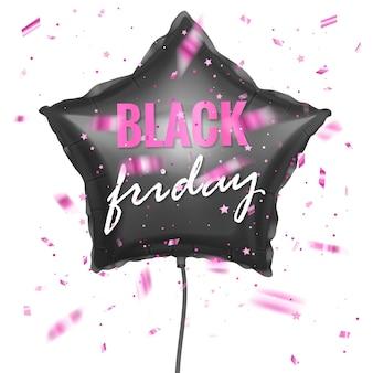 Black friday-verkoopbanner met glanzende zwarte ballon met vorm van ster en confetti