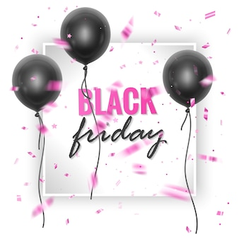 Black friday-verkoopbanner met glanzende zwarte ballonnen en confetti