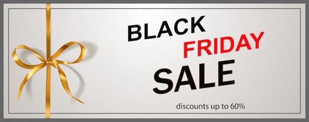 Black friday-verkoopbanner met gouden boog en linten op witte achtergrond. vectorillustratie voor posters, flyers of kaarten.