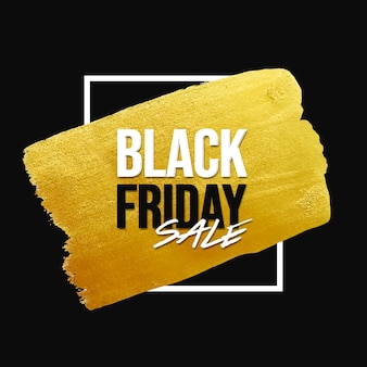 Black friday-verkoopbanner met gouden penseelstreek en wit frame