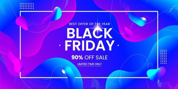 Black friday-verkoopbanner met kleurrijke abstracte vloeibare vorm